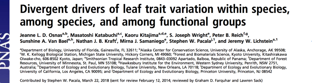 New paper published in PNAS from Panama leaf trait data